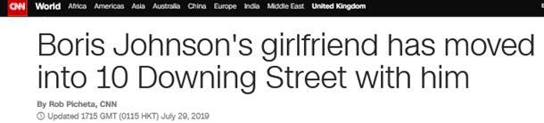 约翰逊带女友搬进唐宁街 外媒:未婚同居唐宁街,英国首相第一人