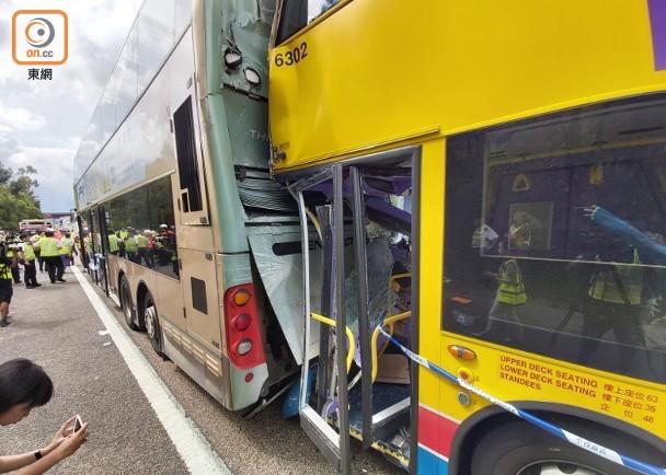 香港大欖隧道汀九出口兩巴士相撞 造成77人受傷