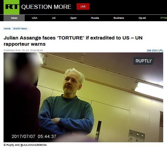 """联合国官员警告:如果阿桑奇被引渡至美国,极可能受到""""酷刑"""""""