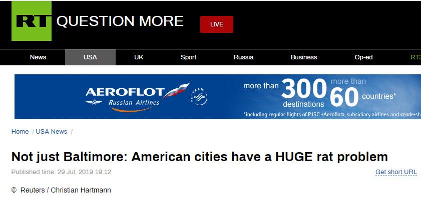 """特朗普骂巴尔的摩""""满地老鼠"""",俄媒:他说的对"""