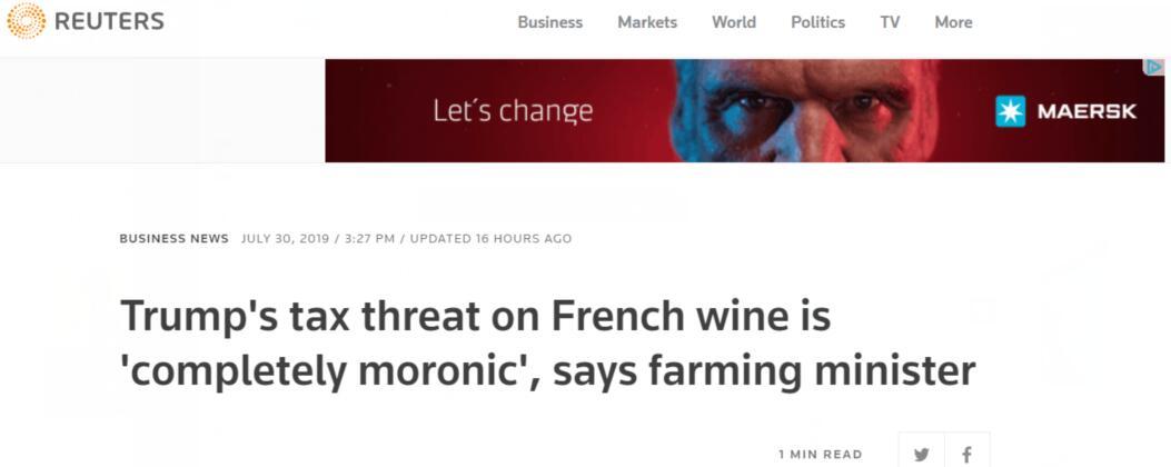 """特朗普要拿法国葡萄酒""""开刀""""?法农业部长:荒谬,愚蠢!"""