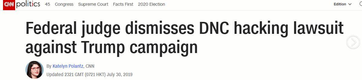 """""""毫无意义、毫无根据"""",美联邦法官驳回民主党""""通俄""""控告"""