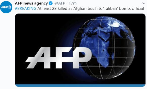 """快讯!阿富汗公交车遭""""塔利班""""炸弹袭击,至少28人死亡"""