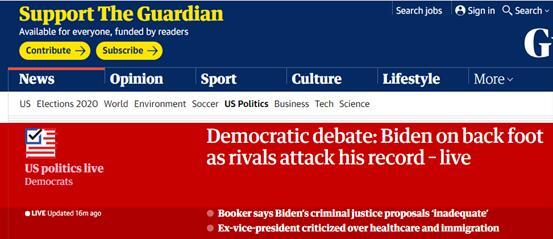 美民主党第二轮电视辩论,拜登喊话对手哈里斯:对我温柔些