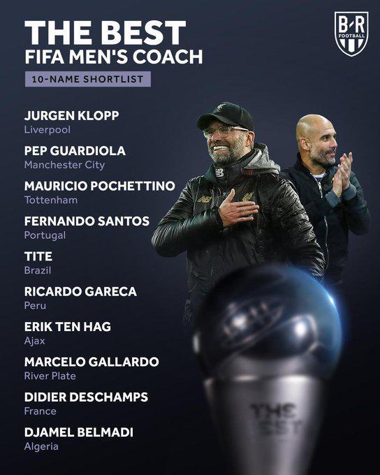 FIFA年度最佳主帅候选:瓜帅克洛普领衔 英超大赢家