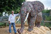 英国设计师用29649节废电池建大象雕塑
