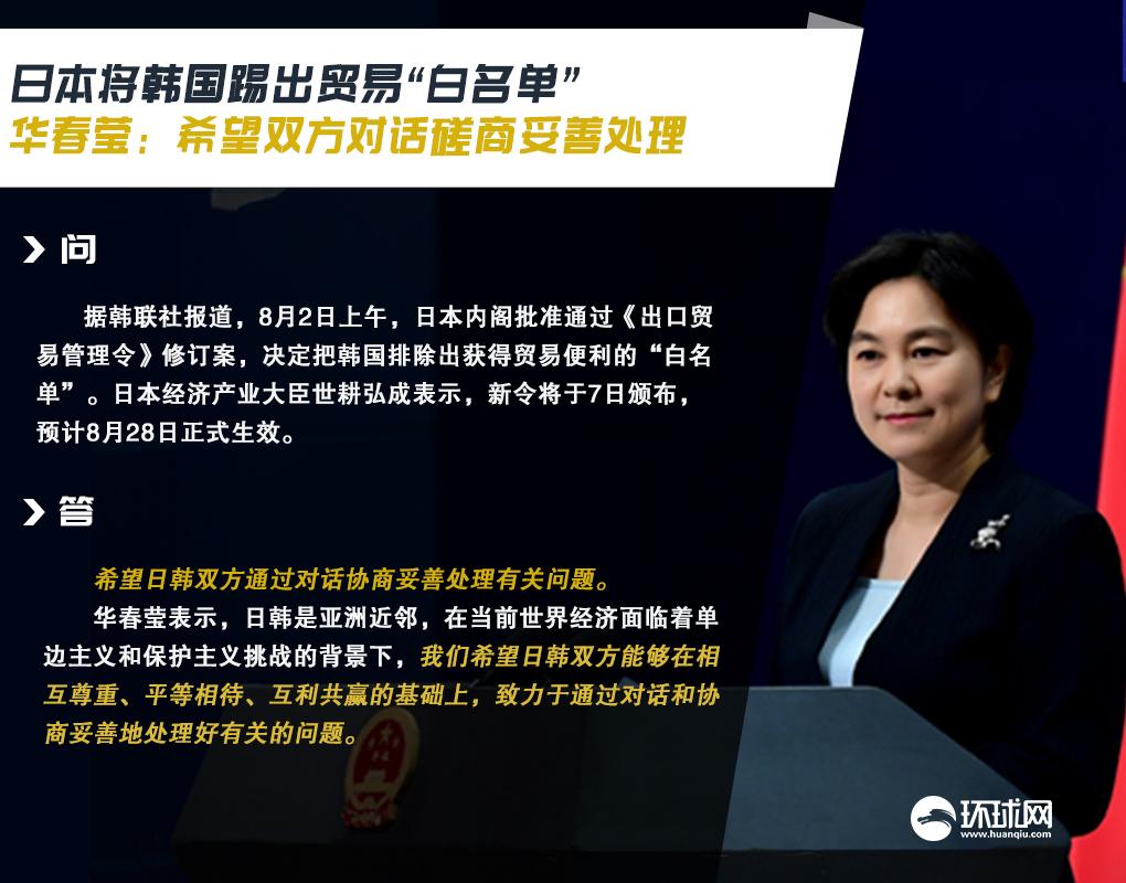 """日本将韩国踢出贸易""""白名单"""",华春莹:希望双方对话磋商妥善处理"""