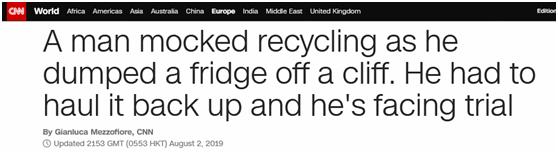 """西班牙一男子将废弃冰箱扔下悬崖,结果被要求""""捡回来""""还要被罚"""