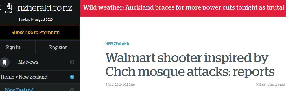 又是白人至上主义作祟?美国得州致20人死枪击案,枪手疑效仿新西兰清真寺枪击案