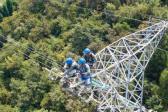 湖北电力人员高空抢修葛洲坝外送输电线路