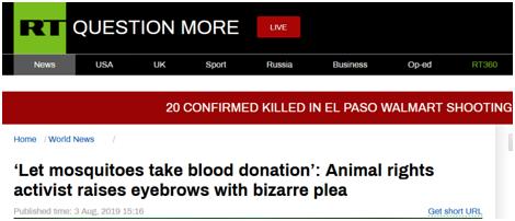 """被蚊子叮怎么办?法国动物权利活动人士建议人类为蚊子""""献血"""":它们要养幼虫"""