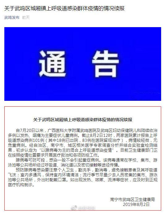 广西武鸣发现101例上呼吸道感染病例 初步认定为疫情