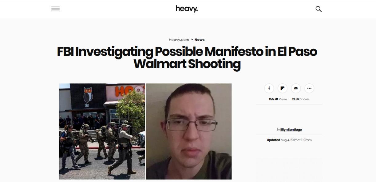 美国得州致20死枪击案嫌犯作案前疑似发文:两党政客要对美国由内而外的腐烂负责