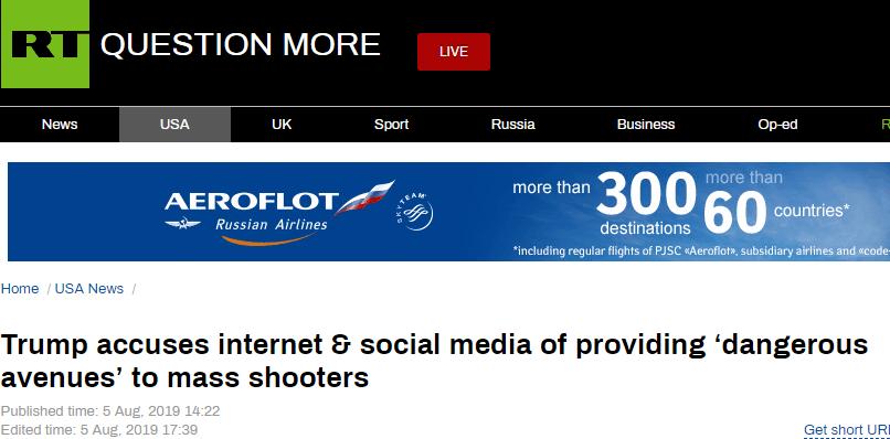 """特朗普再谈枪击案:互联网和社交媒体为枪手提供了""""危险通道"""