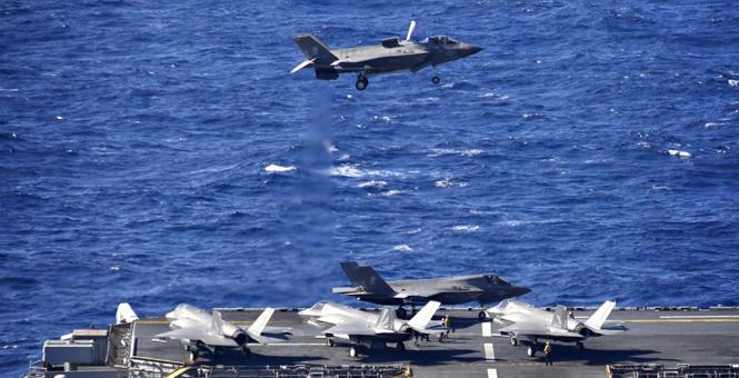 美两栖战斗舰西太平洋训练 5架F-35B同框