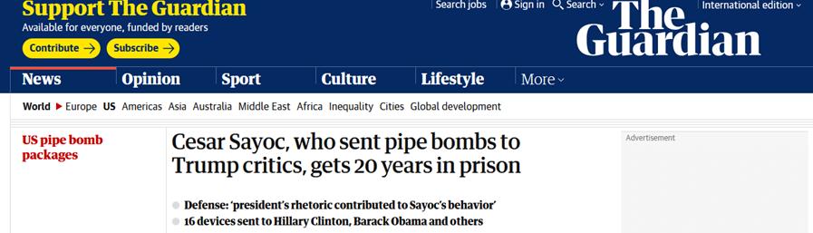"""曾给多位民主党政要寄炸弹,特朗普男""""粉丝""""被判20年监禁"""