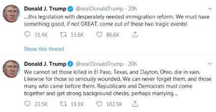 特朗普连发两推谈枪击案,呼吁两党齐心协力应对