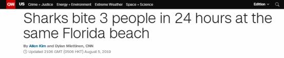 """1天3起!美国一海滩连续发生鲨鱼咬人事件,被称""""鲨鱼袭击之都"""""""