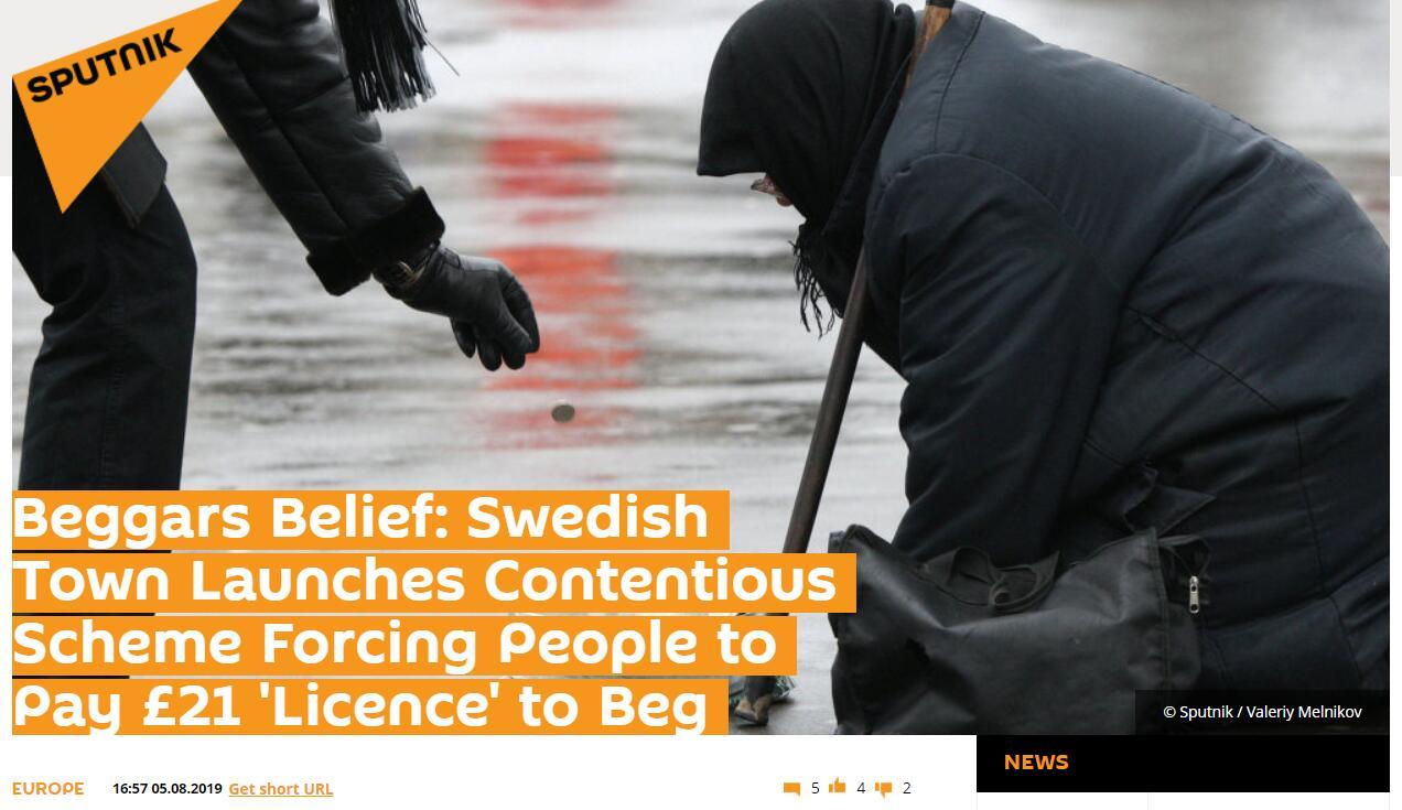 """乞讨也得""""持证上岗""""?瑞典小镇推出新政,乞丐要先买证才能行乞"""