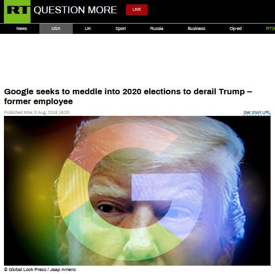 """又""""中枪""""!谷歌被指试图""""干预大选"""",阻特朗普连任"""