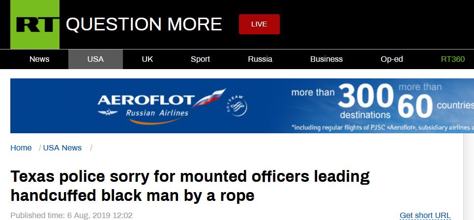 """骑马用绳拉黑人罪犯,美国警察被指""""种族主义""""后道歉"""
