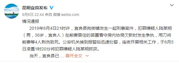 昆明宜良县:男子因欠款纠纷将前妻等4人刺伤致死,已被抓获