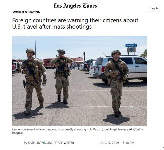 谨慎!24小时两起枪击案后,乌拉圭、委内瑞拉等多国发赴美旅游警告