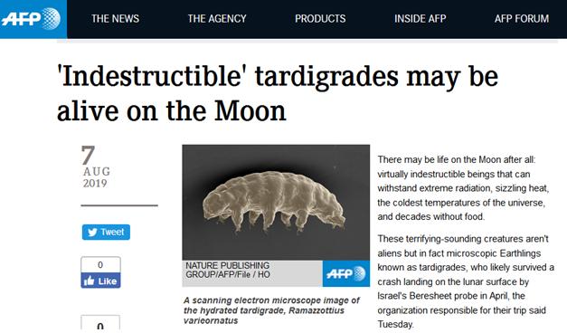 """以色列月球探测器坠毁""""打翻""""地球最强生物样本:""""水熊虫""""将 """"定居""""月球?"""