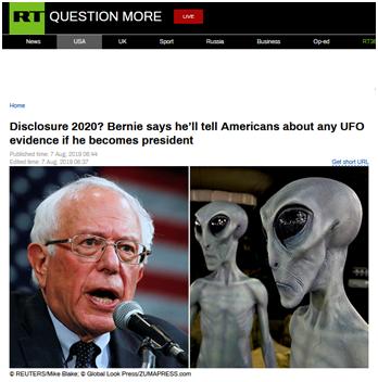竞选出奇招?桑德斯承诺:当选总统将分享UFO信息