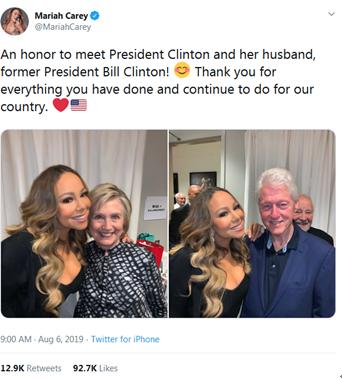 玛丽亚•凯莉分享与希拉里合影:很荣幸见到克林顿总统和她的丈夫