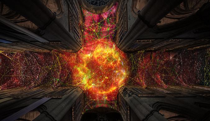 藝術家用現代技術讓法國大教堂天花板驚艷眾人