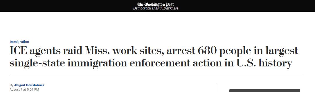 """美执法人员在密西西比州逮捕680名""""非法移民"""",创历史之最"""