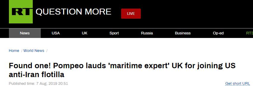 """终有国家愿入""""护航联盟"""",蓬佩奥直夸英国""""海事专家"""",却被俄媒泄了底"""