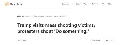 """特朗普访枪击案事发地,抗议人士高呼:""""做点什么吧!"""""""