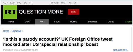 """英国外交部推特""""吹嘘""""英美""""特殊关系"""",网友讽刺:山寨账号?"""