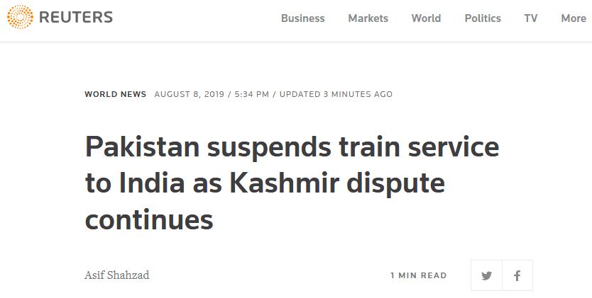 快讯!巴基斯坦宣布暂停对印列车服务