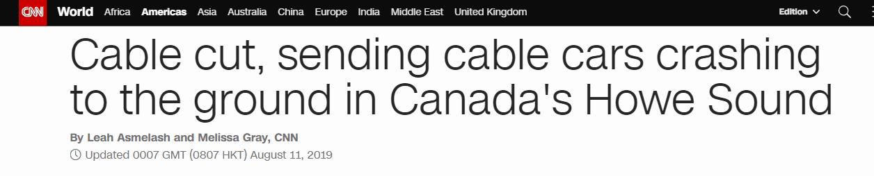 加拿大景区缆车电缆被切断,30多架缆车从高空坠地