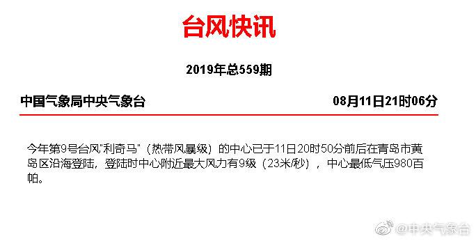 """台风""""利奇马""""于今日20时50分前后在青岛市黄岛"""