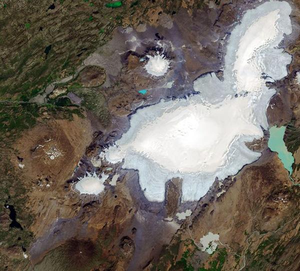 NASA公布对比照 显示冰岛一冰川三十年后完全消失