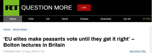 """称欧洲选民是""""农民"""",美国家安全顾问博尔顿言辞引不满"""