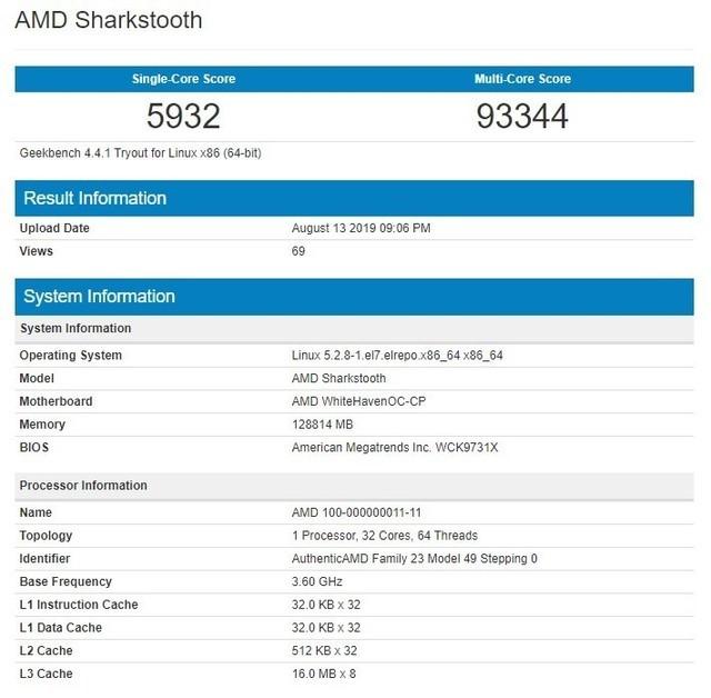 AMD新款线程撕裂者跑分曝光:主频3.6GHz