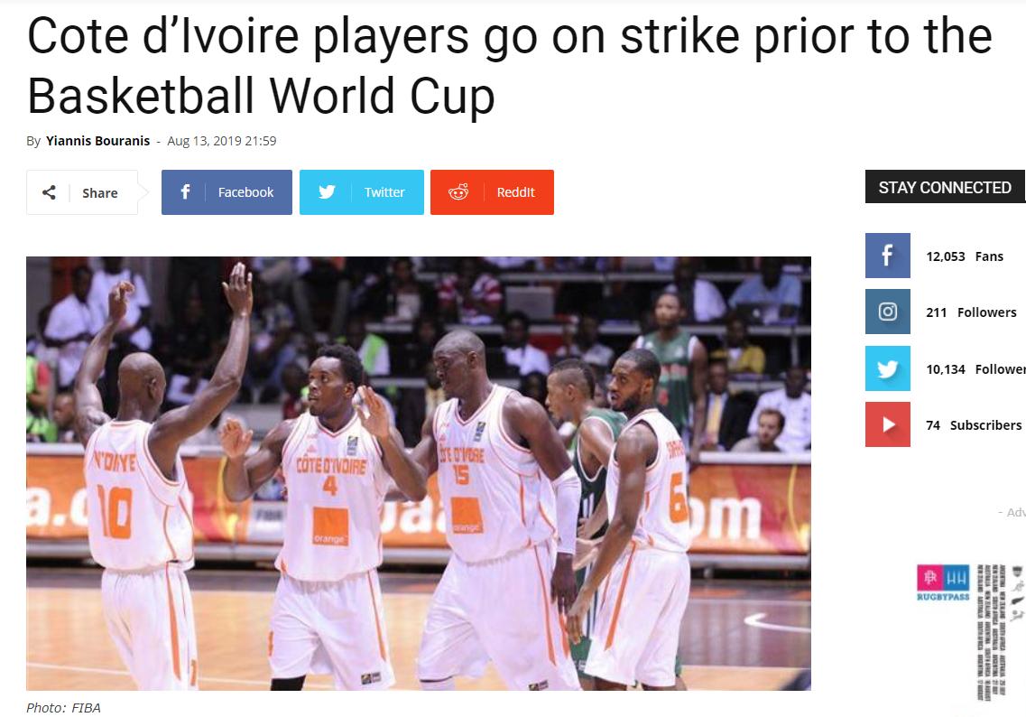 中国男篮小组赛对手科特迪瓦队因欠薪罢赛罢训