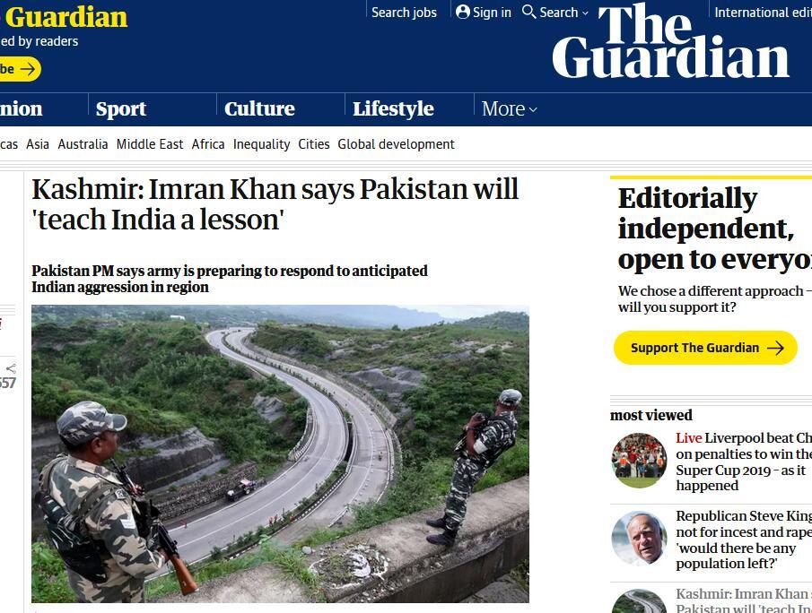 印度取消克什米尔自治地位后,巴基斯坦总理发最强警告:如有侵略行为,给德里一个教训