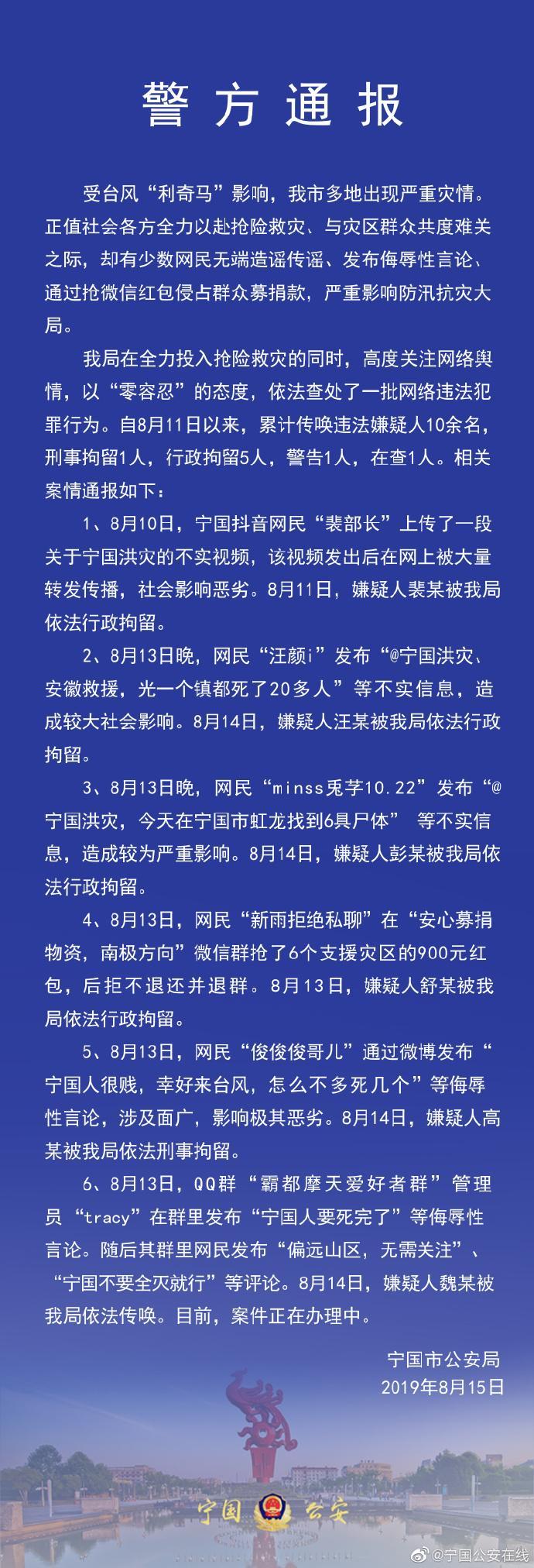 安徽网民台风期间抢微信红包侵占群众募捐款被拘