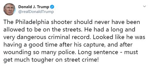 特朗普回应费城枪击案:枪手本不该上街