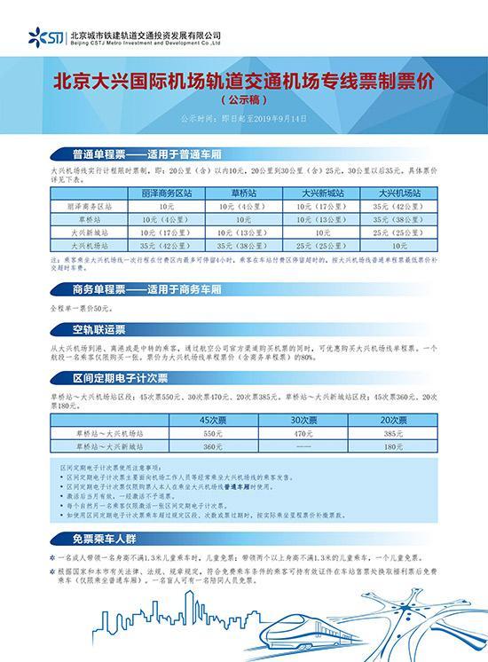 北京轨道交通机场专线定价机制发布大兴机场线计程收费最高35元