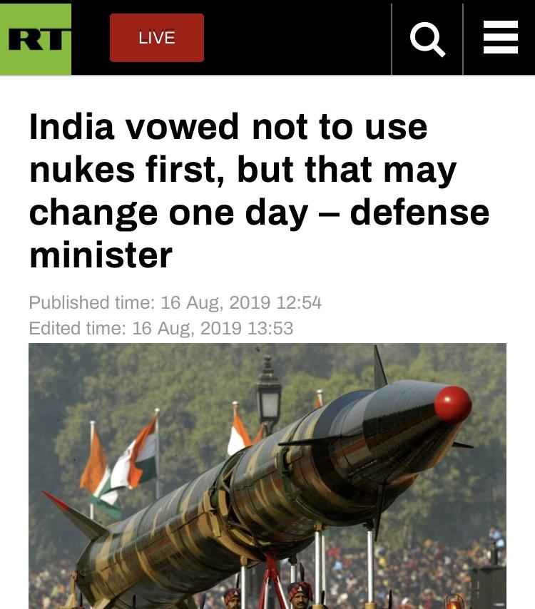 印巴紧张持续,印防长放话:印度不会首先使用核武器,但这视情况而定