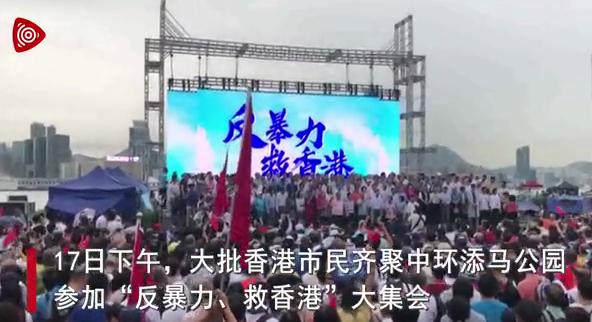 """47.6万市民冒雨集会""""反暴力救香港"""""""
