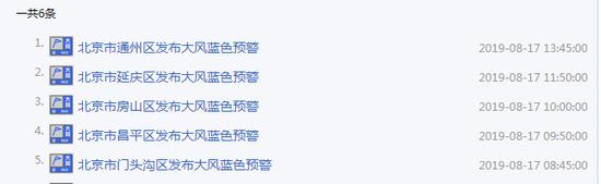 7级大风来袭 北京多区发布大风蓝色预警