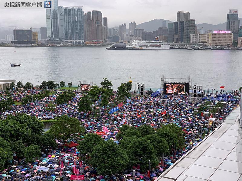 """冒雨护港!香港社会各界举行""""反暴力、救香港""""大集会"""